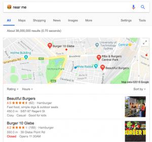 Emoji SEO - Ranking results for the burger emoji